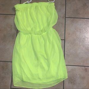 Express sz med lined neon strapless dress vguc